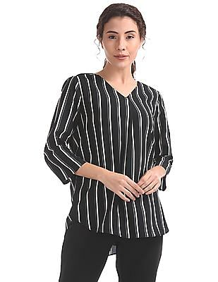 Elle Studio High Low Striped Top