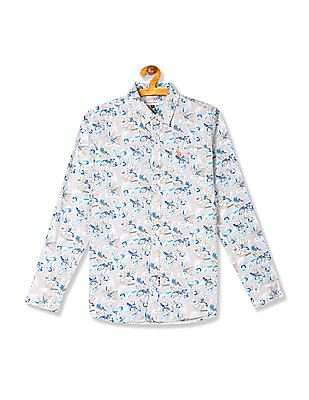 U.S. Polo Assn. Kids Boys Floral Print Long Sleeve Shirt