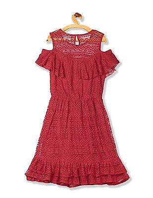 Cherokee Girls Ruffle Hem Lace Dress