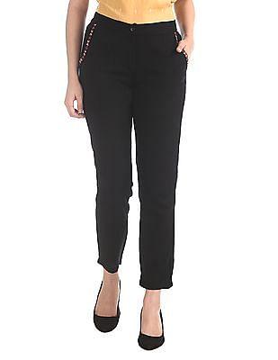 Bronz Black Semi Elasticized Waist Woven Pants