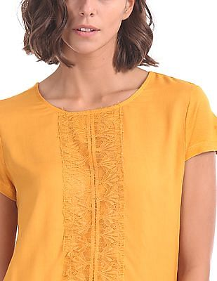 Cherokee Lace Panel Woven Top