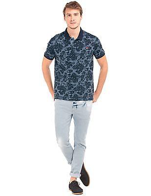 Ed Hardy Tropical Print Pique Polo Shirt