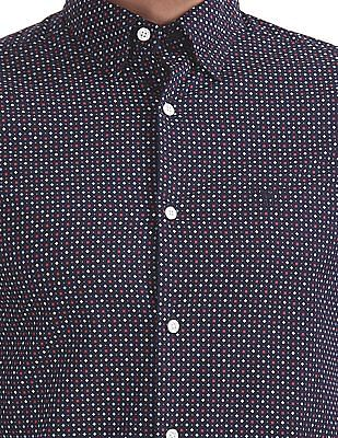 Gant Micro Nautical Print Slim Hidden Button Down Shirt