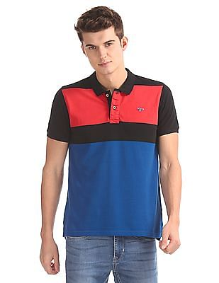 Flying Machine Slim Fit Striped Polo Shirt