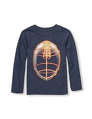 The Children's Place Toddler Boy Long Sleeve Neon Football Graphic Tee