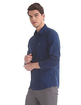 Arrow Sports Blue Tonal Vertical Stripe Shirt