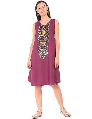 Bronz V-Neck Contrast Printed A-Line Dress