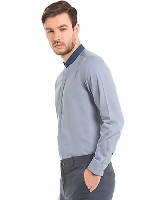 True Blue Slim Fit Club Collar Shirt