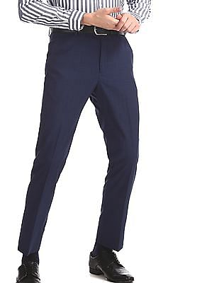 Arrow Newyork Blue Tapered Fit Patterned Check Trousers