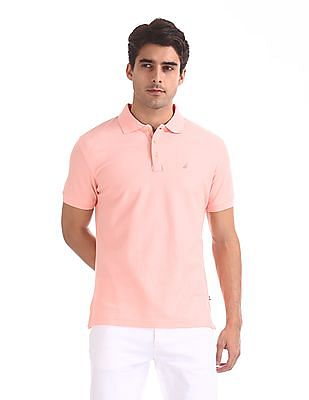 Nautica Short Sleeve Solid Polo With Applied Placket