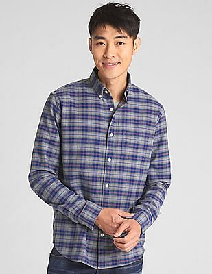 GAP Plaid Oxford Shirt in Stretch