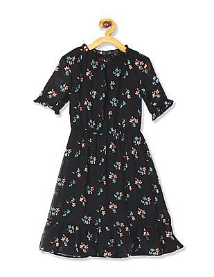Cherokee Black Girls Floral Print Tiered Hem Dress