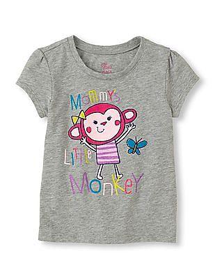 The Children's Place Toddler Girl Grey Short Sleeve Mommy's Monkey Print T-Shirt