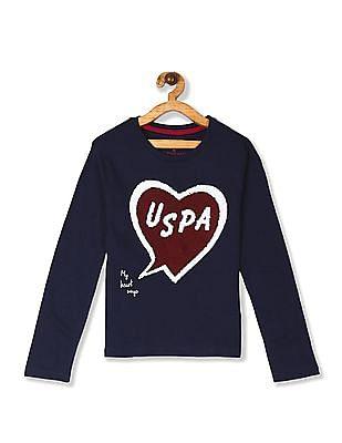 U.S. Polo Assn. Kids Blue Girls Crew Neck Flippy Sequin T-Shirt