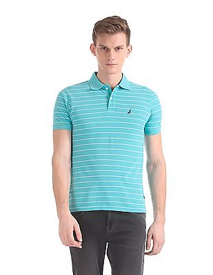Nautica Short Sleeve Striped Deck Pique Polo