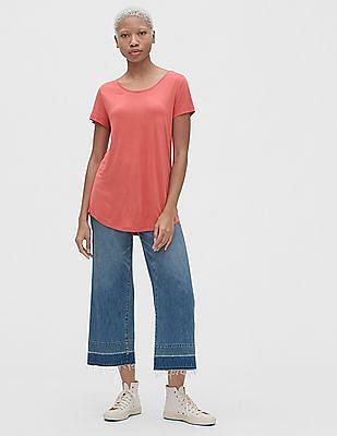 GAP Women Pink Short Sleeve T-Shirt In Luxe Jersey