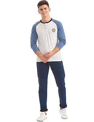 Colt Contrast Raglan Sleeve Henley T-Shirt