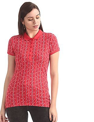U.S. Polo Assn. Women Pink Printed Pique Polo Shirt