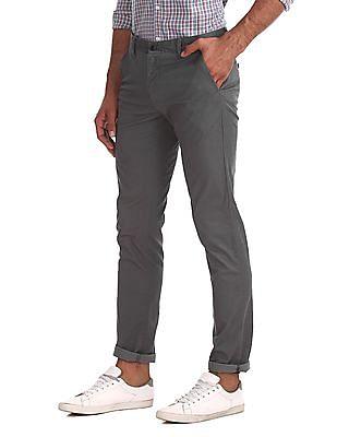 Arrow Sports Grey Chrysler Slim Fit Twill Trousers