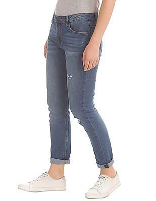 Cherokee Girlfriend Fit Distressed Jeans