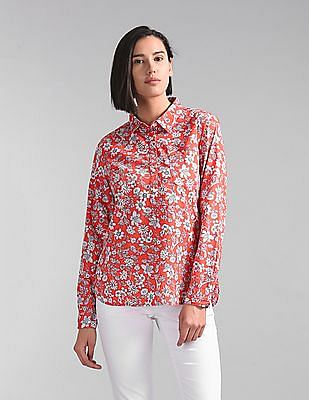 GAP Floral Print Popover Shirt