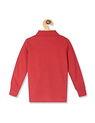 U.S. Polo Assn. Kids Red Boys Printed Panel Cotton Polo Shirt