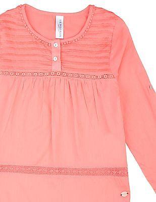 U.S. Polo Assn. Kids Girls Long Sleeve Lace Trim Top