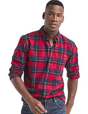 GAP Men Red Brushed Flannel Plaid Standard Fit Shirt