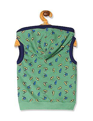 Cherokee Green Boys Sneaker Print Hooded Sweatshirt