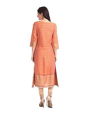 Anahi Orange Cut And Sew Panel Printed Kurta