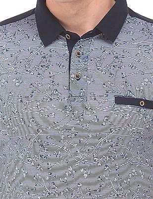 Arrow Sports Printed Front Short Sleeve Polo Shirt