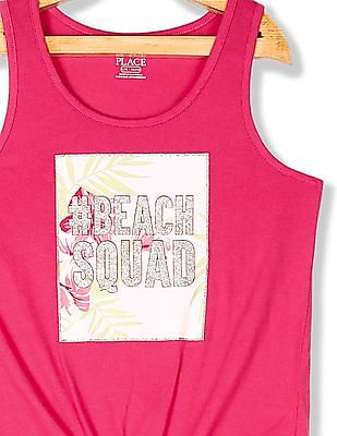 The Children's Place Pink Girls 'Beach Squad' Graphic Tank Top