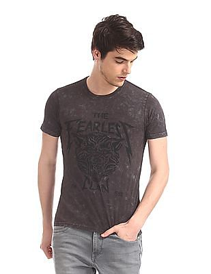 Flying Machine Grey Crew Neck Printed T-Shirt
