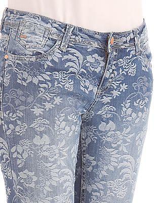 Elle Skinny Fit Floral Pattern Jeans