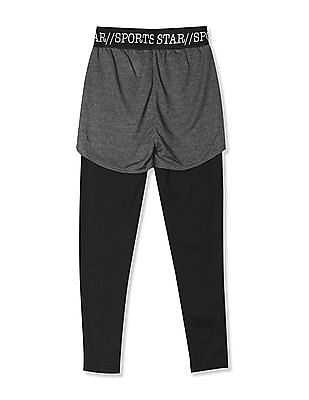 Cherokee Grey Girls Active Shorts With Inner Leggings
