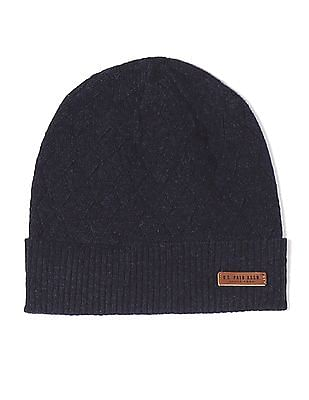 U.S. Polo Assn. Blue Patterned Lambswool Beanie