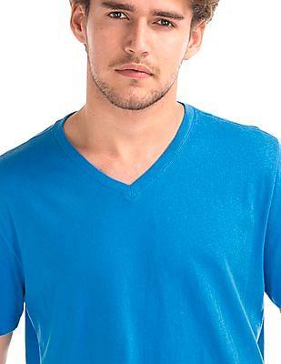 GAP Men Blue Essential Short Sleeve V-Neck T-Shirt