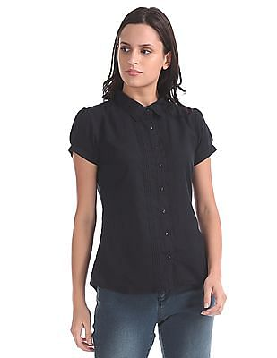 Cherokee Spread Collar Pin Tuck Shirt
