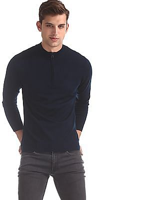 Flying Machine Blue Ribbed Neck Solid Sweater