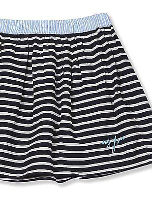 U.S. Polo Assn. Kids Girls Stipe Flared Skirt