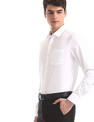 Arrow White Solid French Placket Shirt