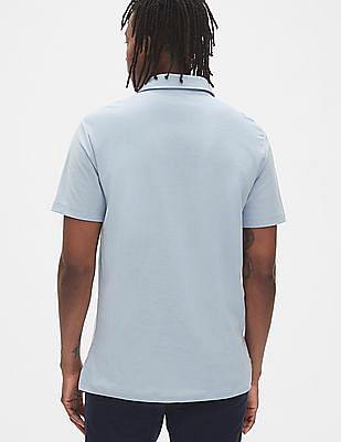 GAP Men Blue Logo Jersey Polo Shirt