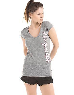 Aeropostale Melange Appliqued T-Shirt