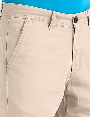 Ruggers Beige Urban Slim Fit Patterned Trousers