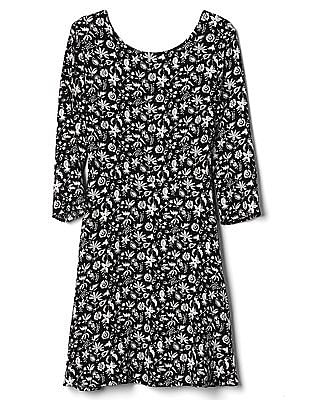 GAP Three Quarter Length Sleeve Fit And Flare Dress In Crepe