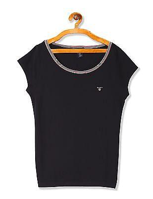 Gant Boys Patterned Weave Short Sleeve T-Shirt