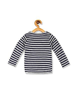 Donuts Blue Girls Panelled Front Striped T-Shirt