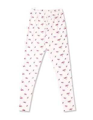 Cherokee Pink Girls Allover Print Cotton Stretch Leggings