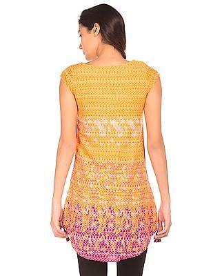 Bronz Combination Print Woven Tunic