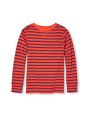 The Children's Place Boys Red Long Sleeve Striped Thermal Top